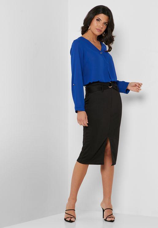 D-Ring Front Slit Skirt