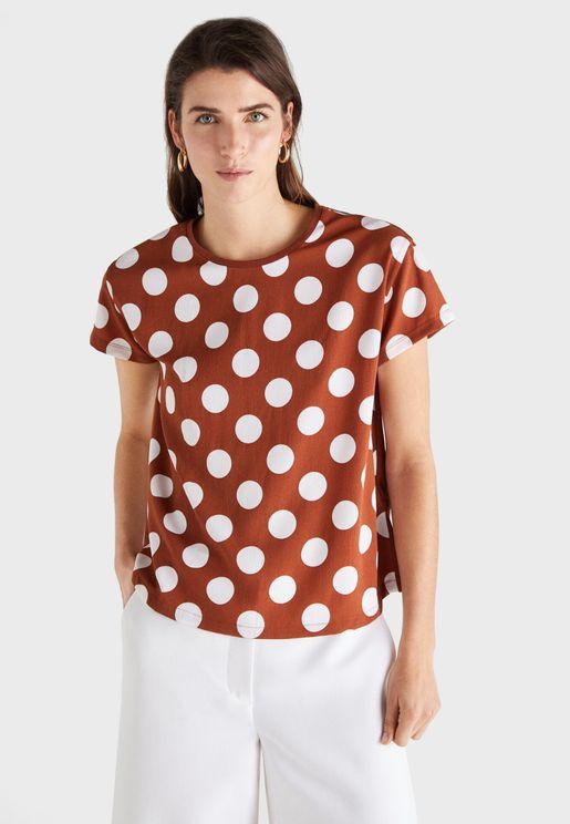 Crew Neck Polka Dot T-Shirt