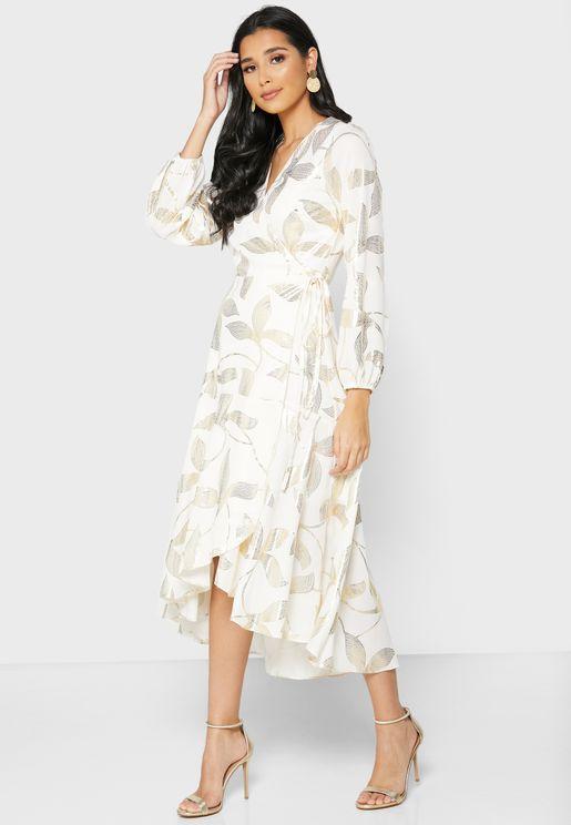 Leaf Print Ruffle Trim Wrap Dress