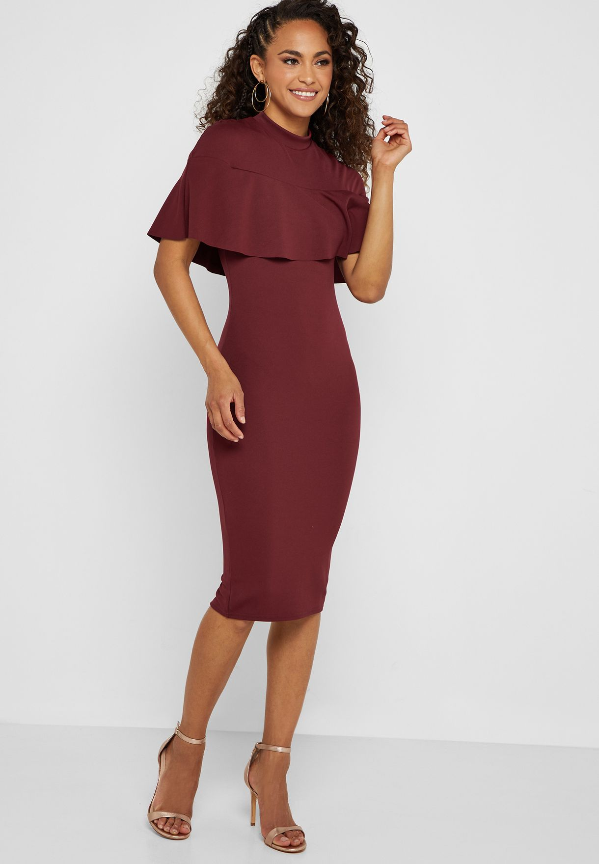 7bdc8617f9 Shop Missguided red High Neck Overlay Bodycon Dress DE925263 for ...