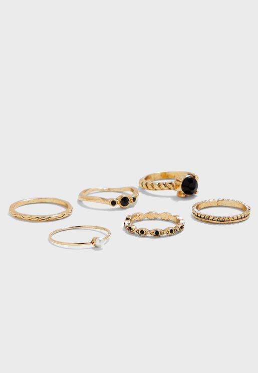 Black Stone Rings Set