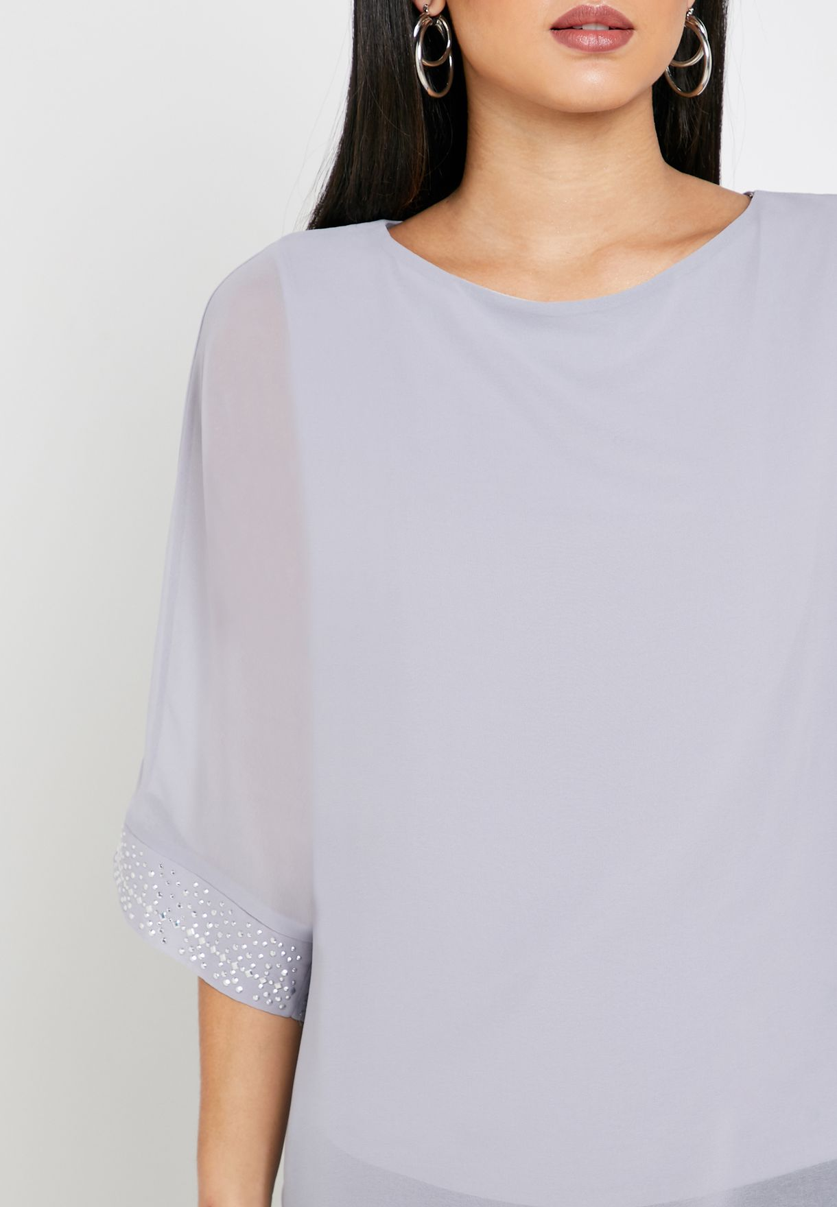 3/4 Sleeve Overlay Top