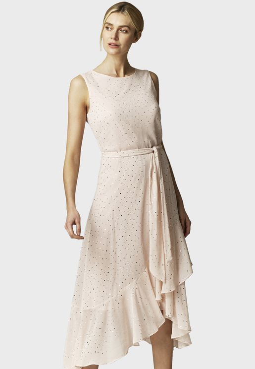 Tie Waist Asymmetric Ruffle Hem Dress