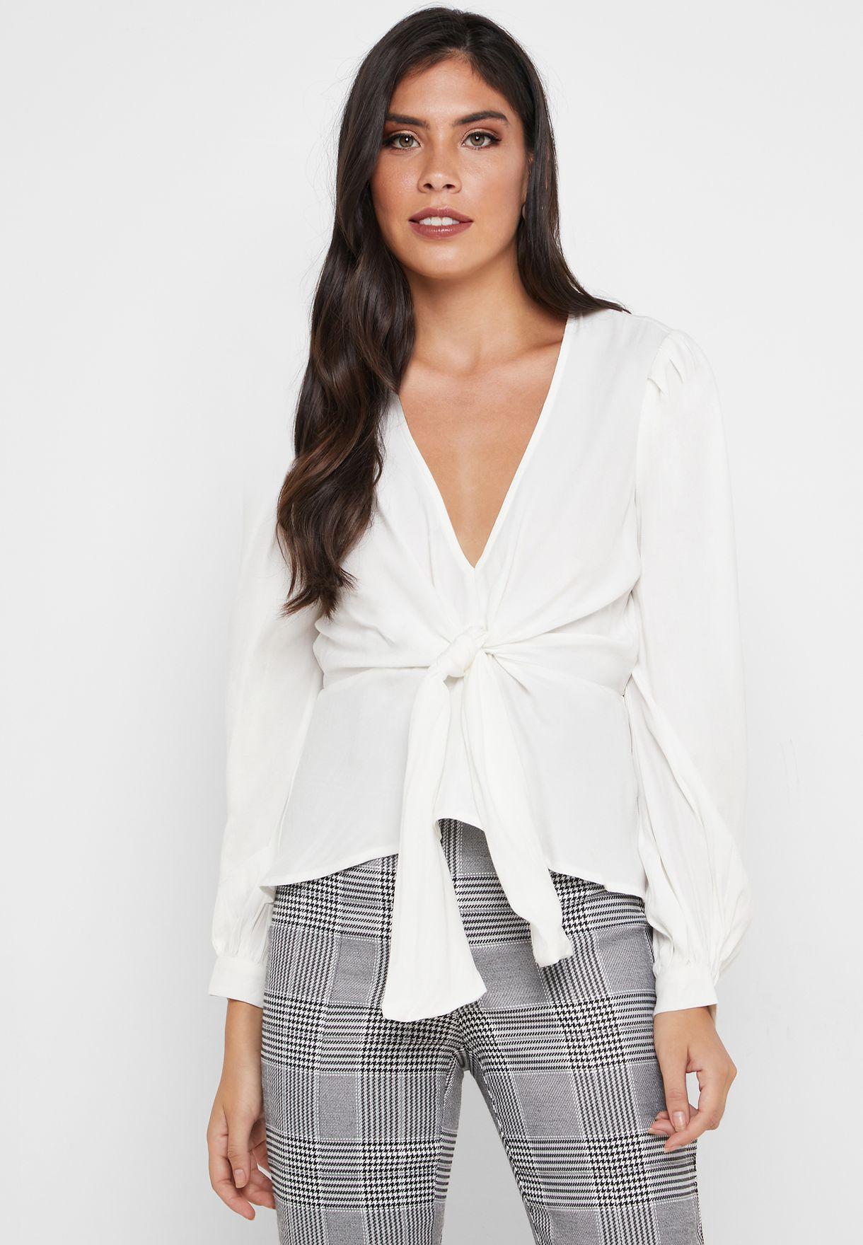 Front Tie  Puff Sleeve Top