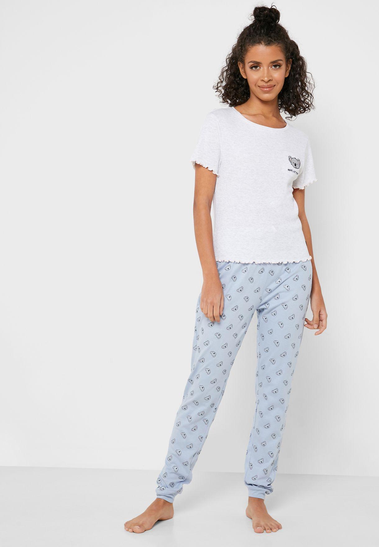 Slogan T-shirt and Pants Set