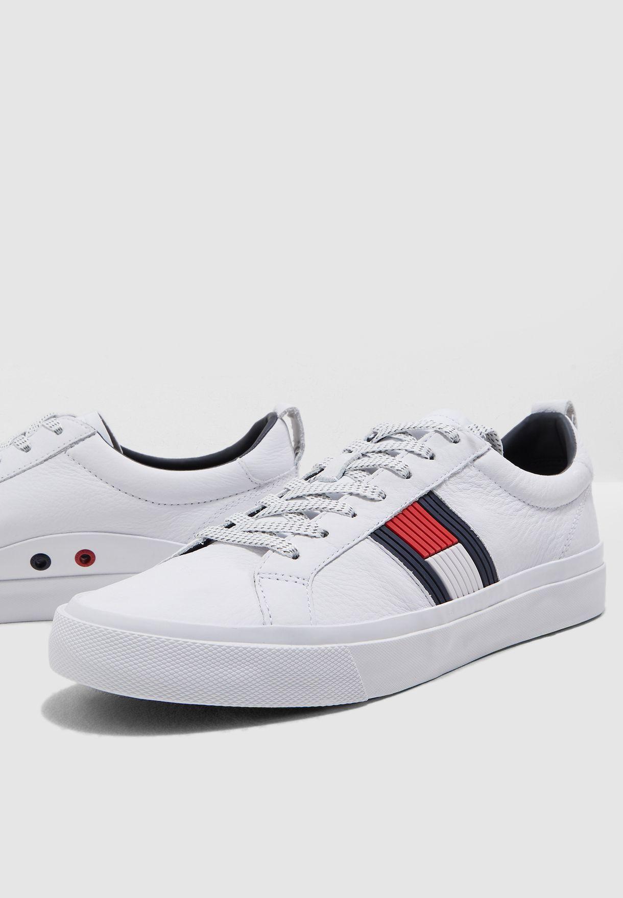 16317e441f773d Shop Tommy Hilfiger white Flag Detail Leather Sneaker FM0FM01712100 ...
