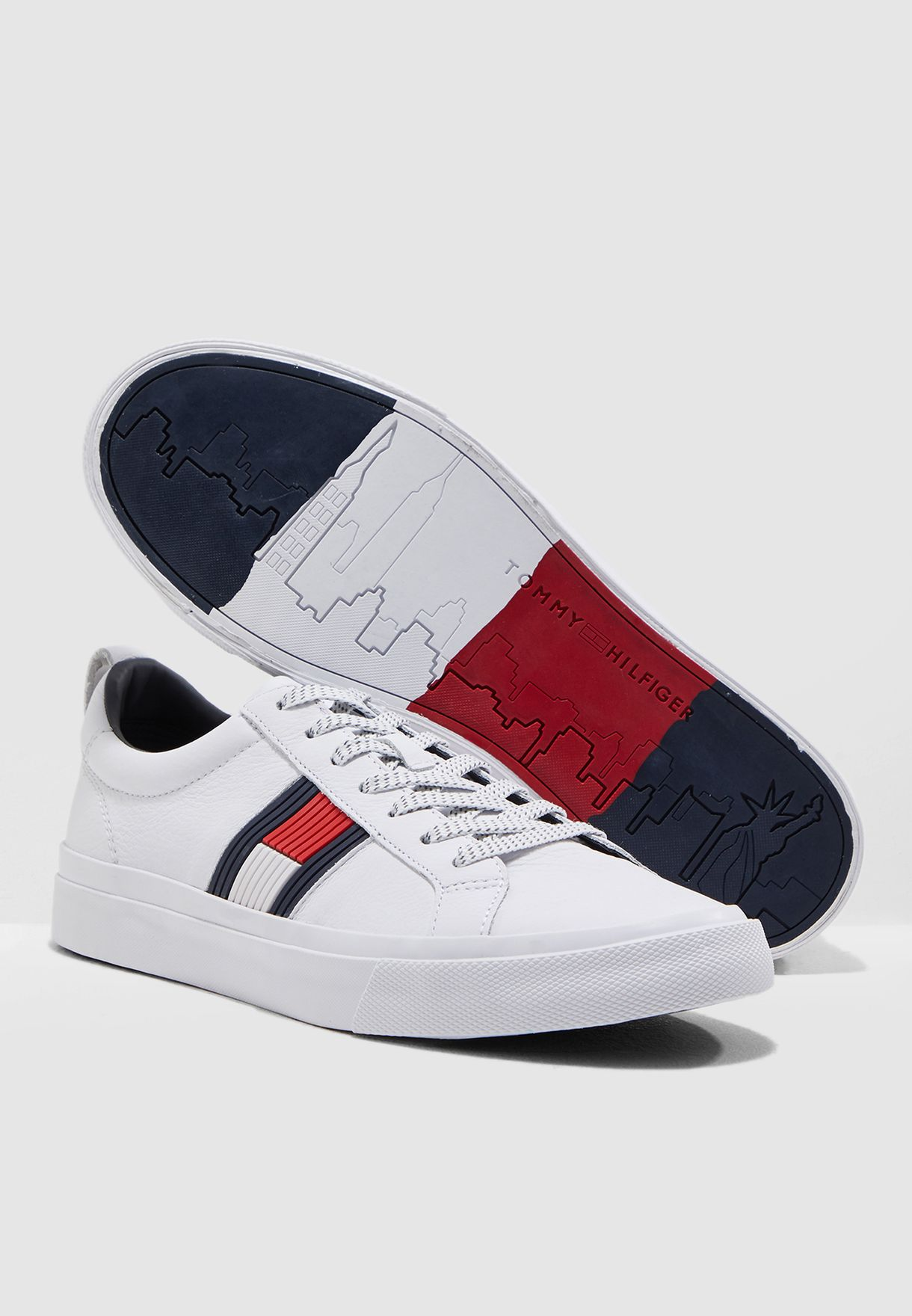 abbf3567fb3c Shop Tommy Hilfiger white Flag Detail Leather Sneaker FM0FM01712100 ...