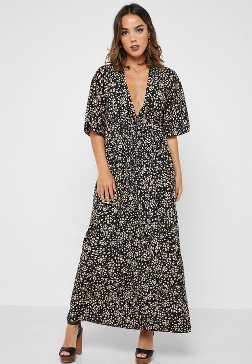 Pebble Print Plunge Neck Maxi Dress