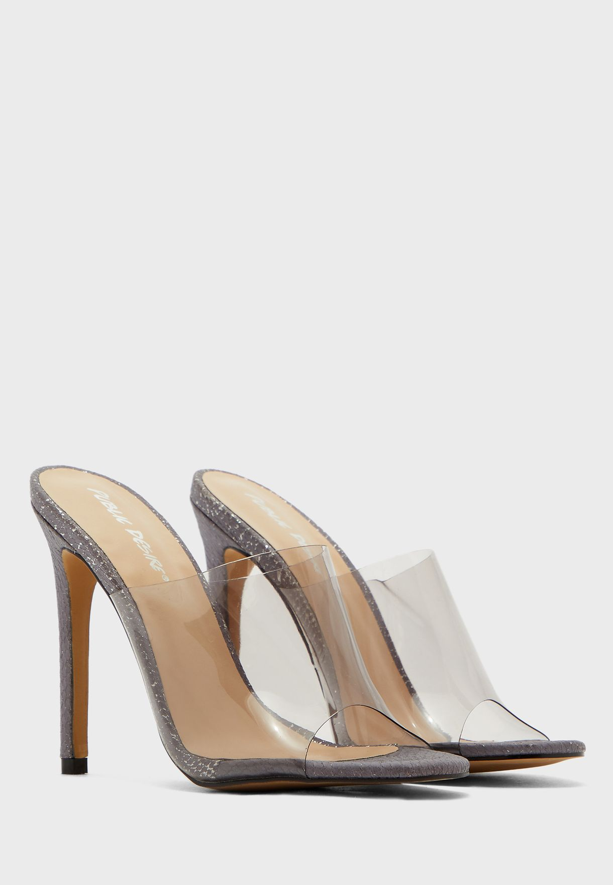 Wide Transparent Strap High Heel Sandal