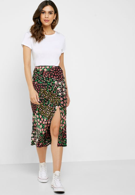 Floral Patchwork Midi Bodycon Skirt