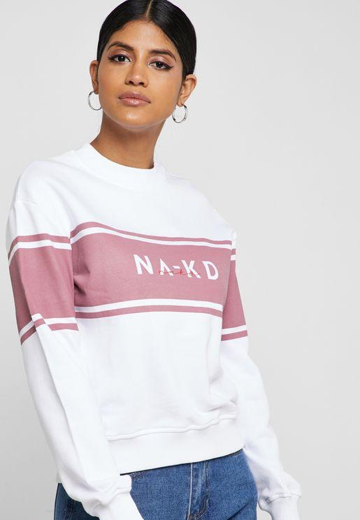 Striped Slogan Sweatshirt