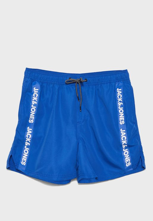 Side Stripe Logo Swim Shorts