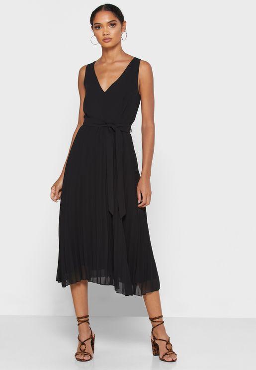 Deep V-Neck Pleated Dress