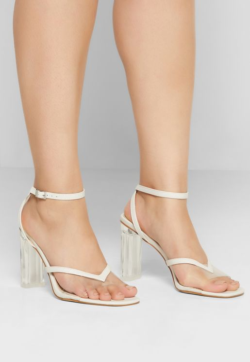 Square Toe Ankle Strap Sandal With Persplex Heel