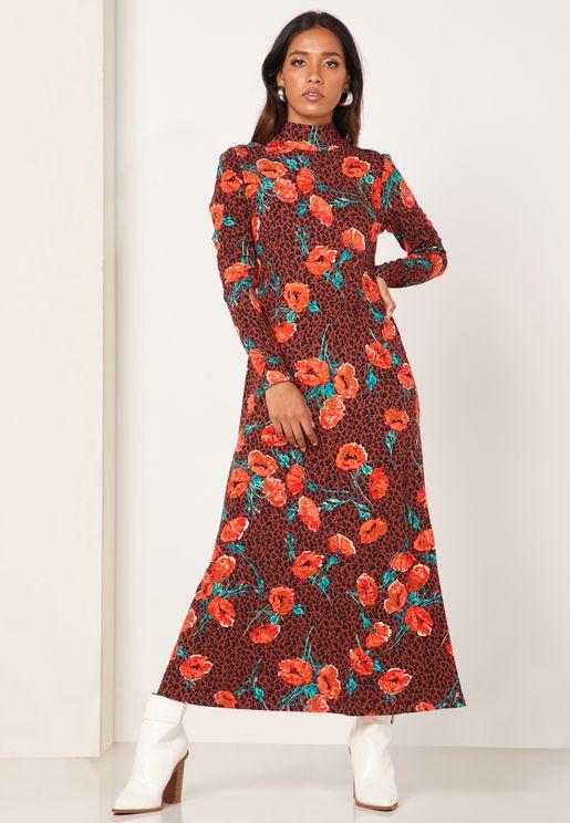 Retro Romance Floral Print Dress