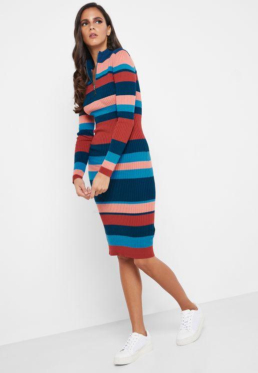 Zip Up Striped Bodycon Dress