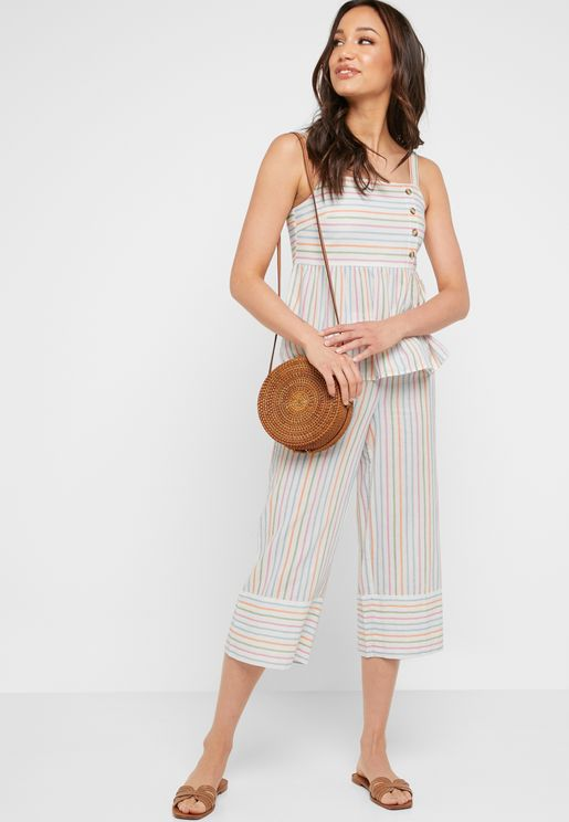 Striped Culottes Pants