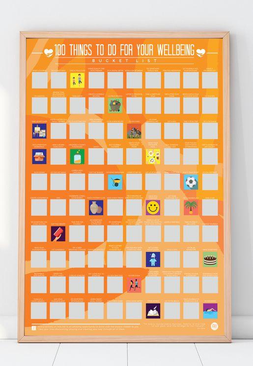 ملصق السعادة يتضمن 100 اشياء لتفعلها