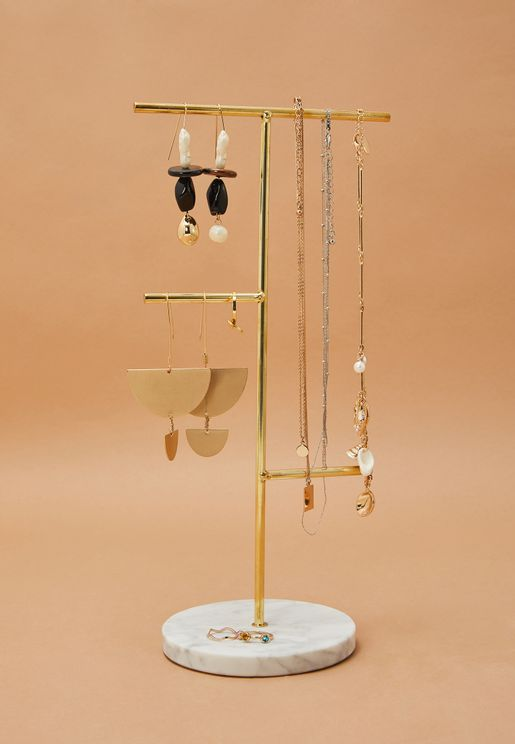Marble Base Jewelry Stand