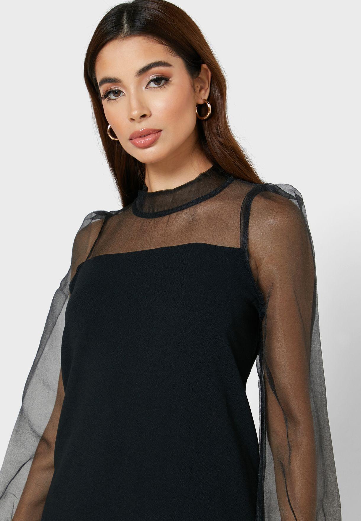 High Neck Mesh Sleeve Dress