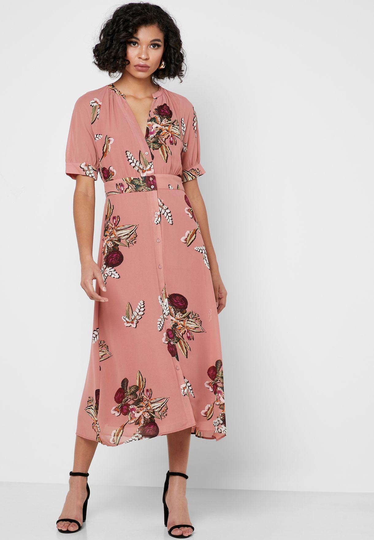 Button Down Floral Print Dress