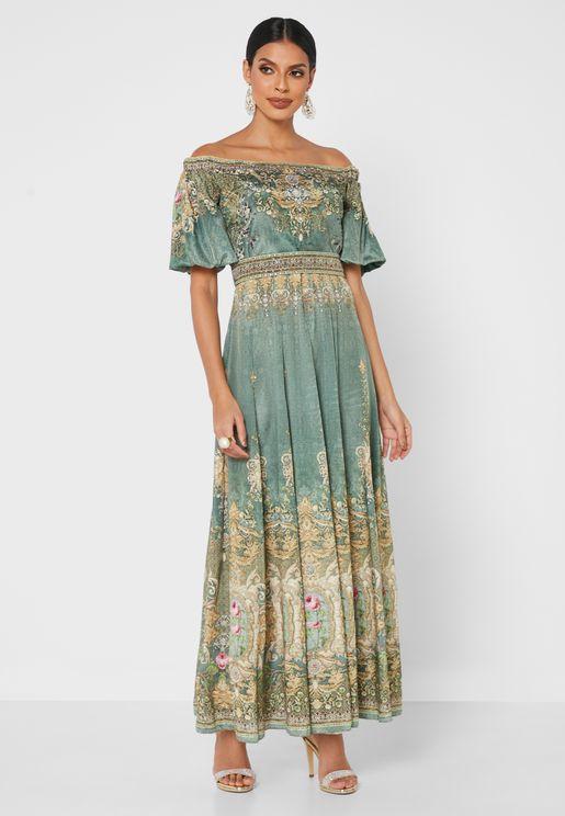 Printed Bardot Dress