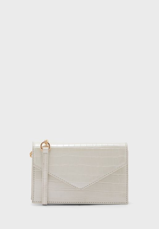 Croc Envelope Clutch Bag With Crossbody Chain