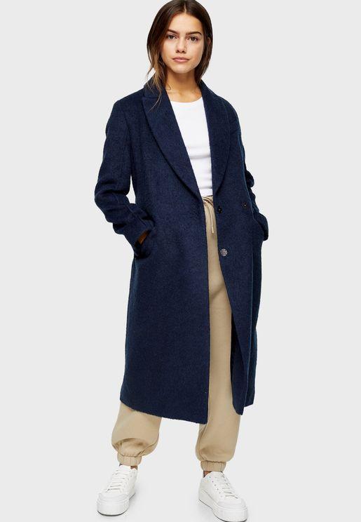 معطف طويل بجيوب جانبية