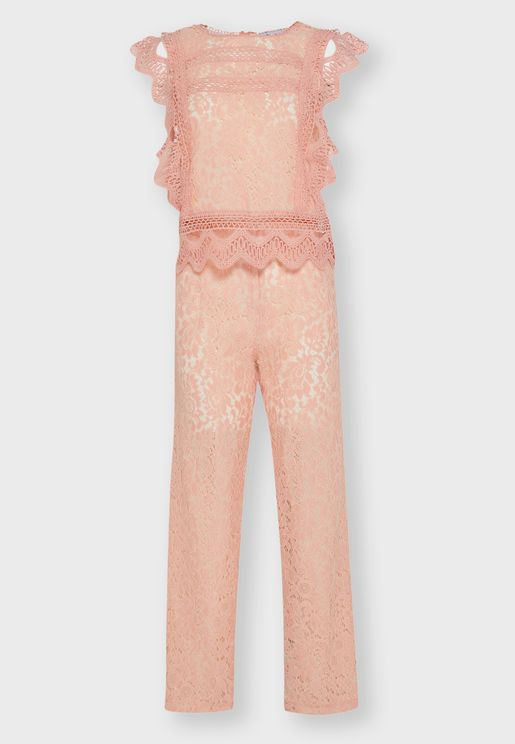 Lace Detail Pants Set