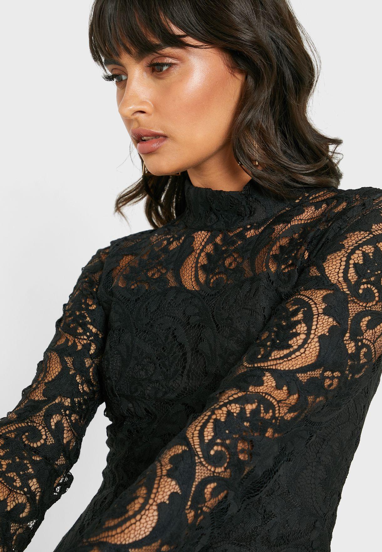 High Neck Front Split Lace Dress