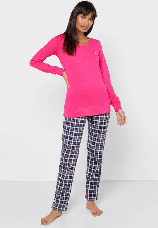 Button Detail Logo T-Shirt & Checked Pyjama Set