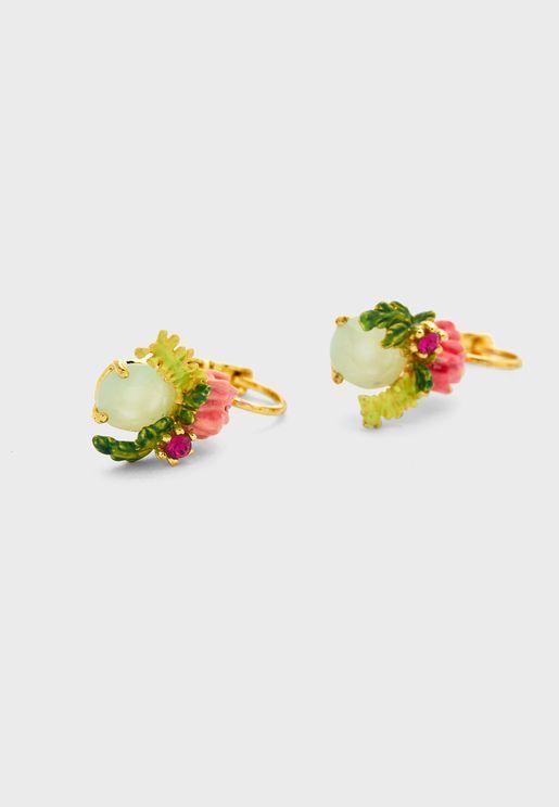 Flower On Faceted Glass Stud Earrings