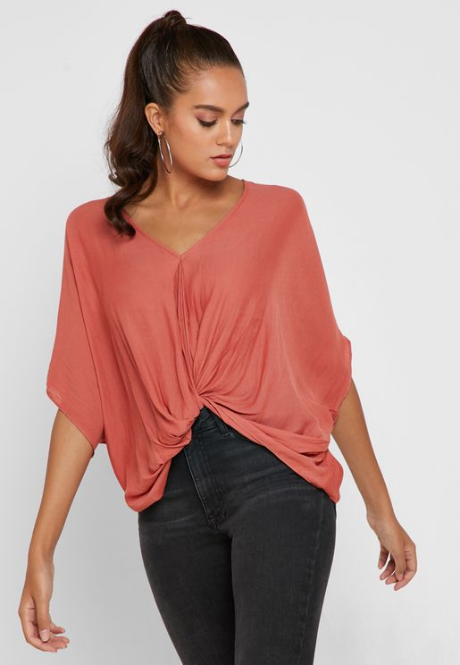 Wide Sleeve V-Neck Top