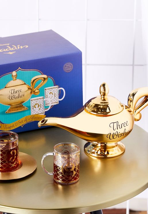 Disney Aladdin Tea Pot and Set of Two Glasses