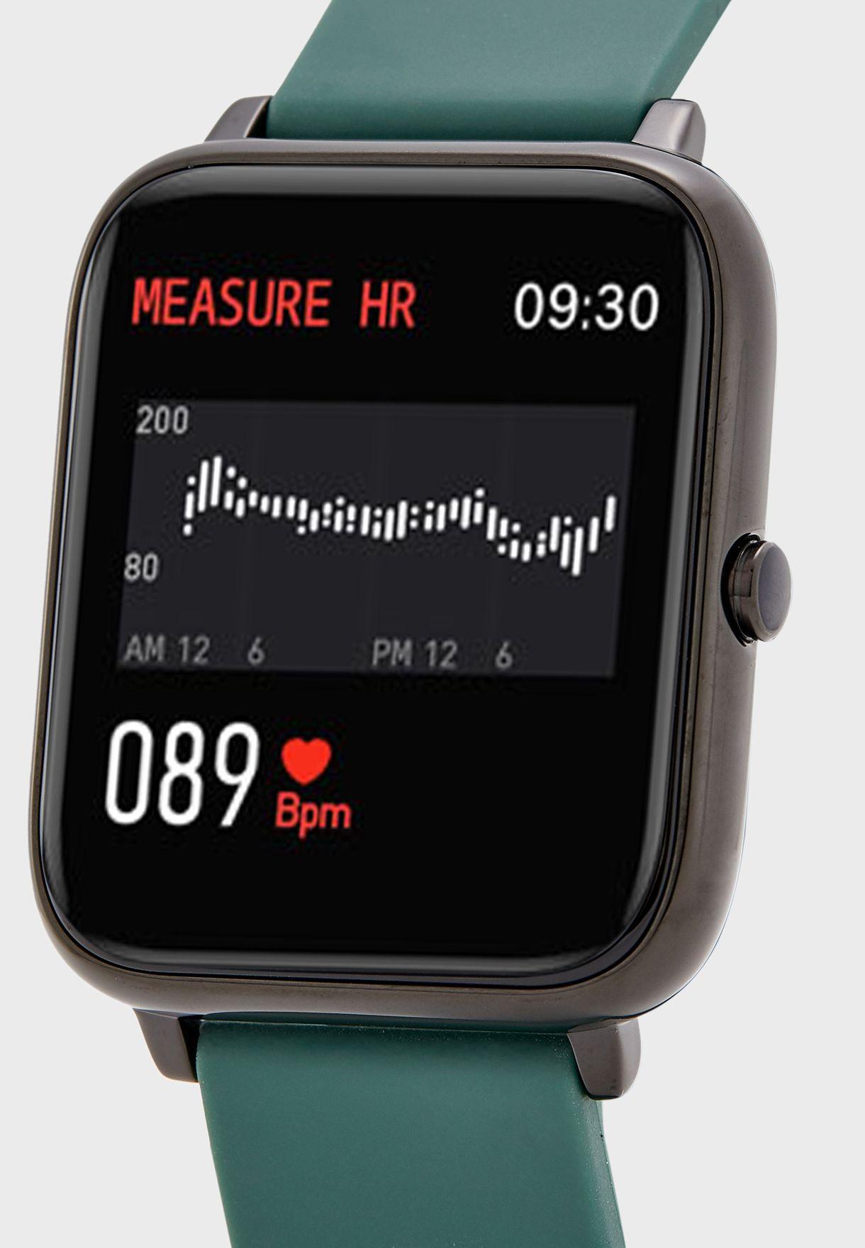 ساعة ذكية مع معدل ضربات القلب وشاشة كبيرة