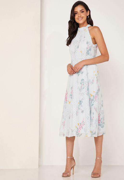 5cef24a9e Pinkee Sorbet Lace Insert Midi Dress