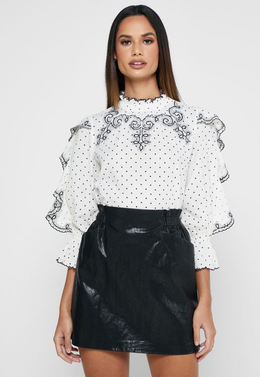 Melanie Frill Embroidered High Neck Top