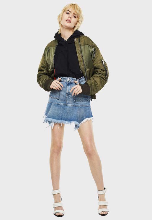تنورة جينز ميني بأطراف غير مدروزة
