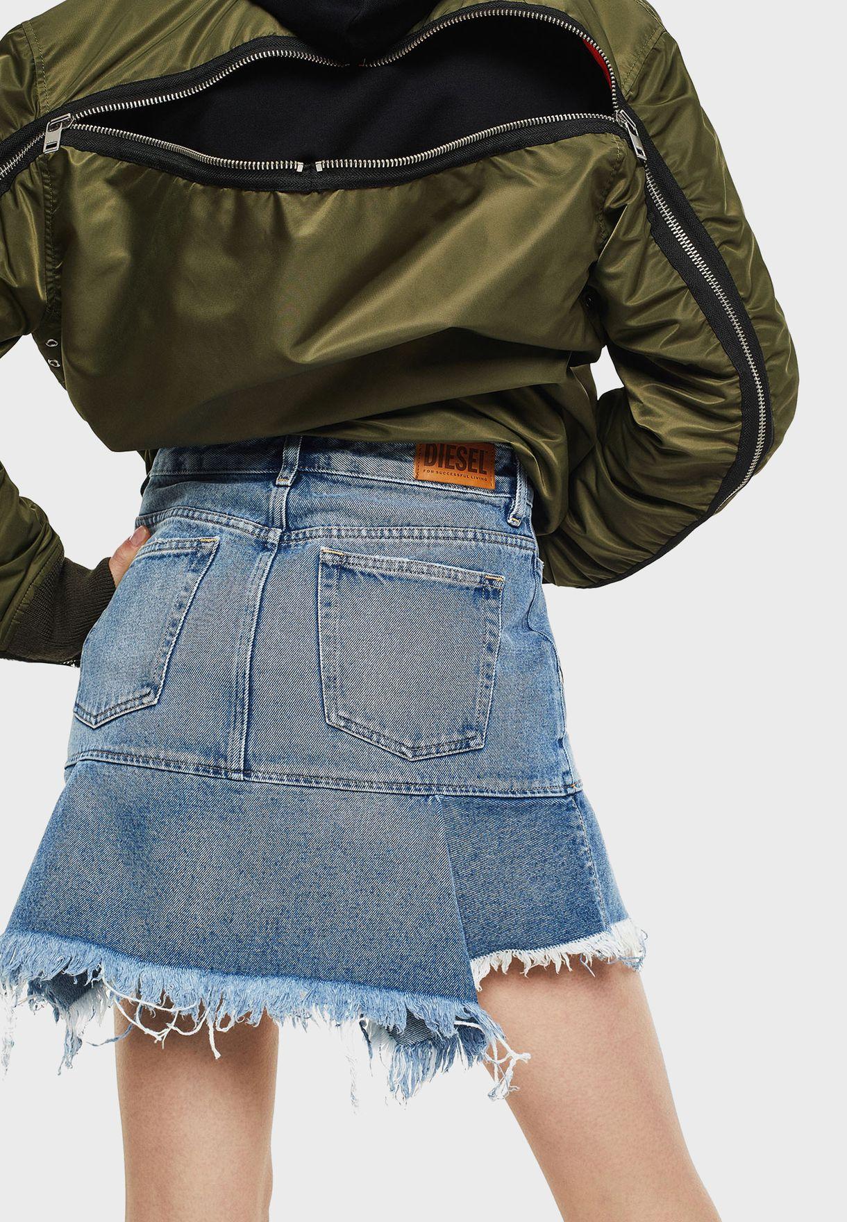 DE-BRYX Raw Hem Mini Skirt