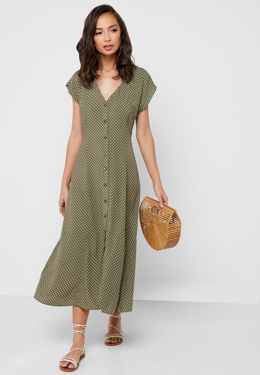 Button Through Dot Print Dress