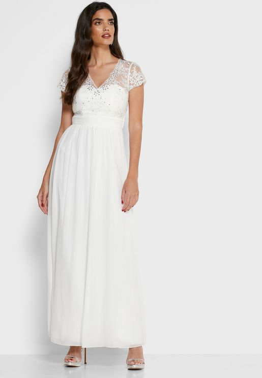 Pleated Lace Bridal Maxi Dress