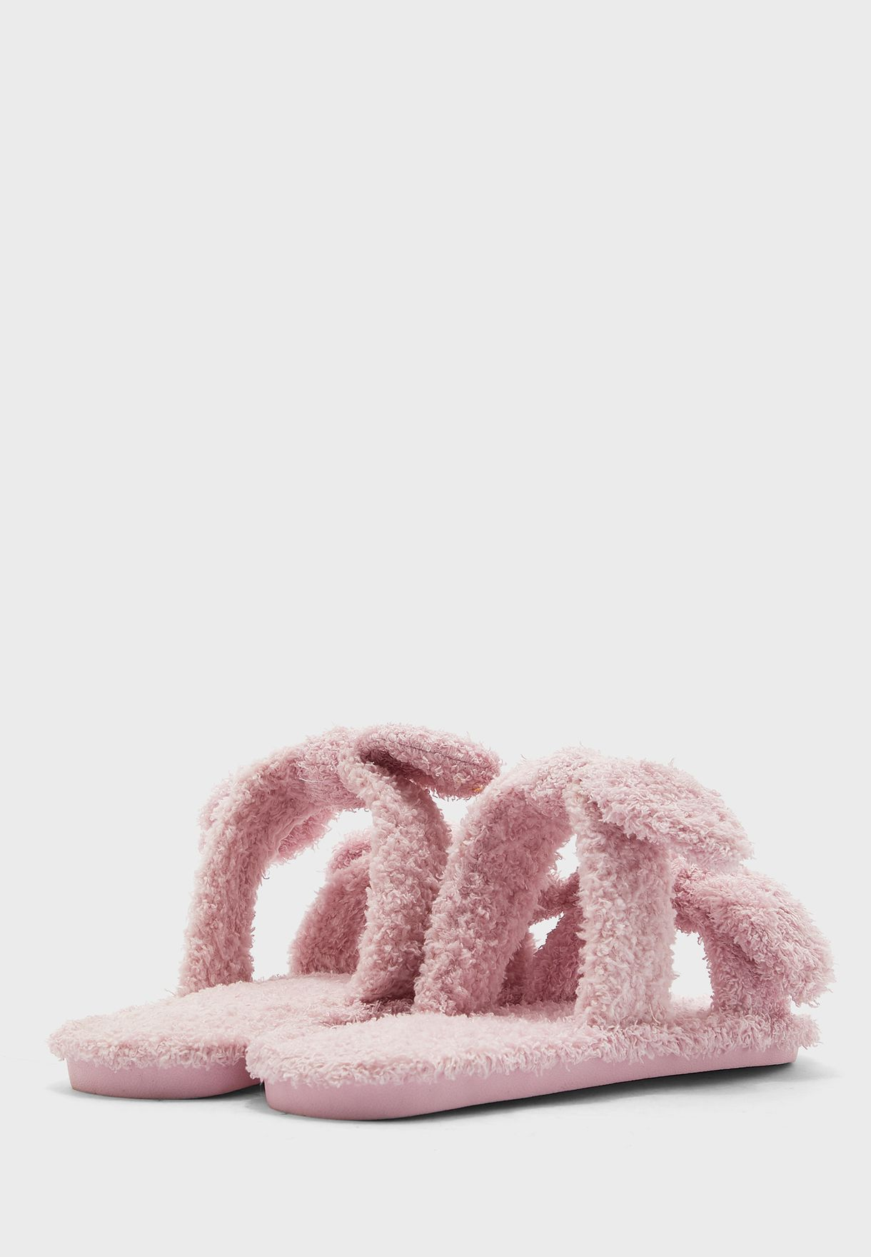 Double Bow Open Toe Bedroom Slippers