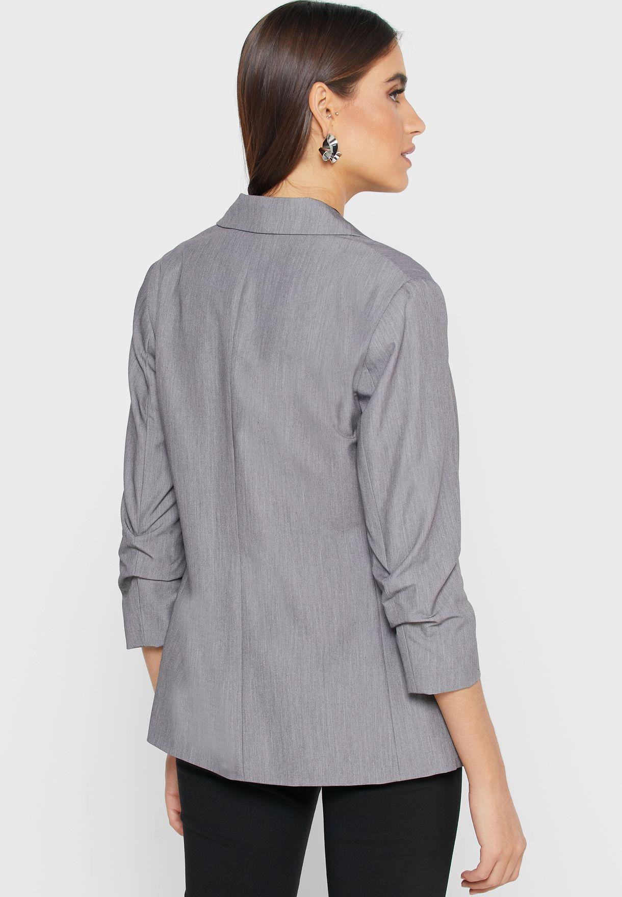 Ruched Sleeve Blazer