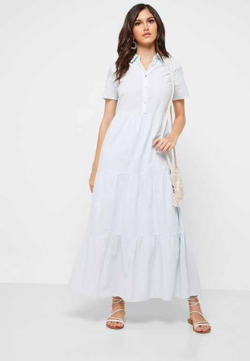 Ruffle Hem Shirt Dress