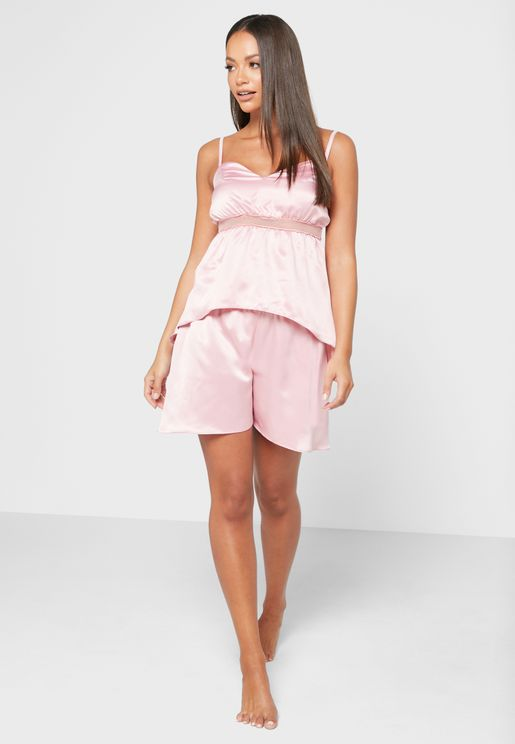Fitted Cami Top & Flared Shorts Set