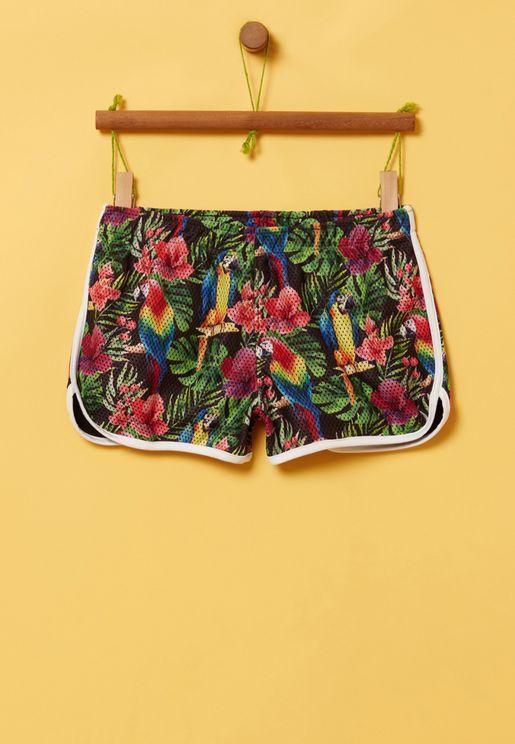 Youth Floral Print Mesh Shorts
