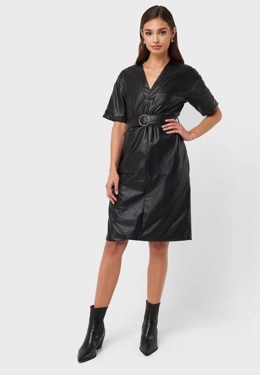 Belted Pu Dress