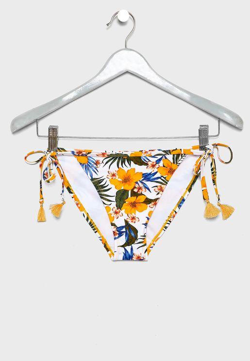 Side Tie Printed Bikini Bottom