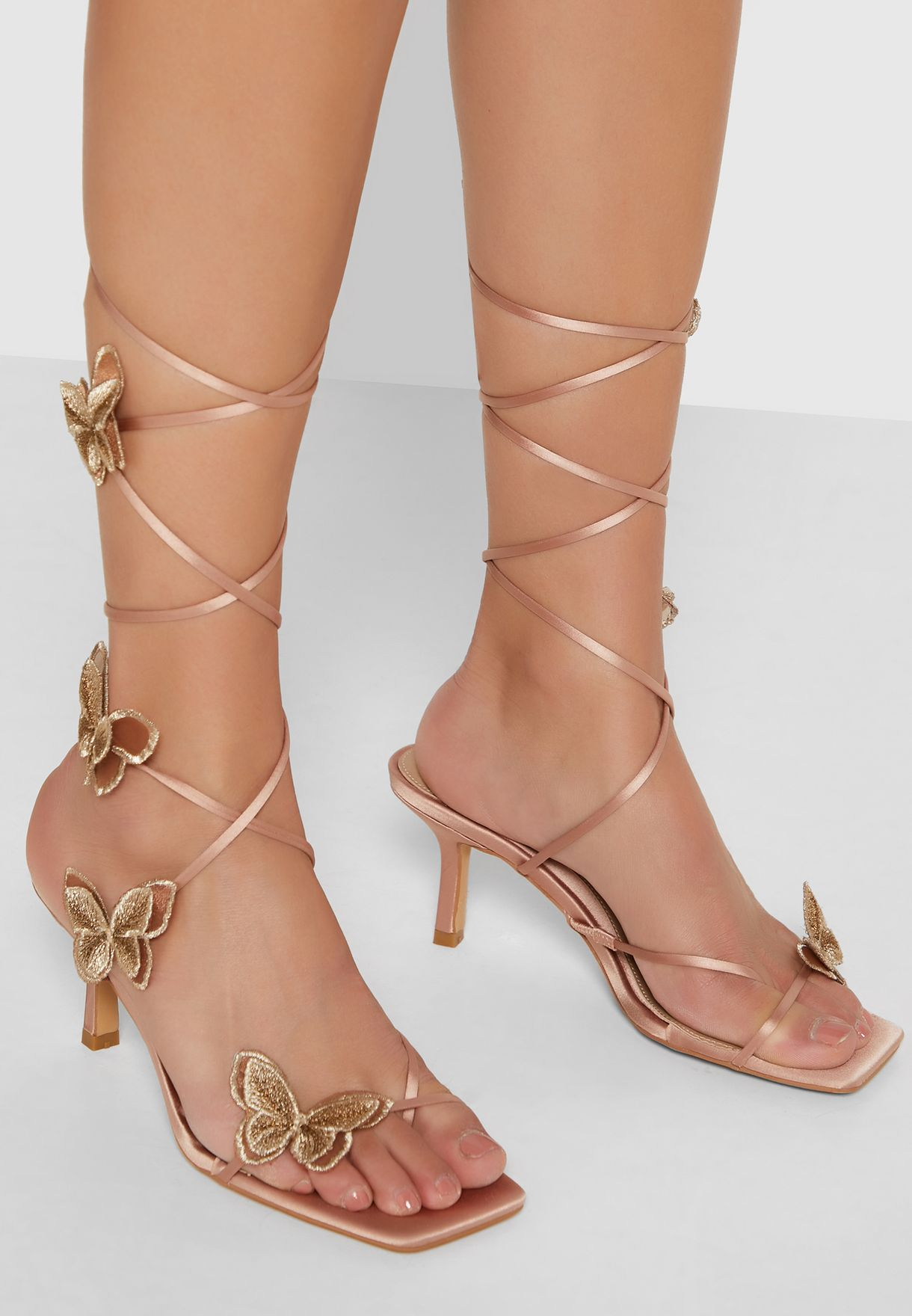 Butterfly Embroidered Mid Heel Sandal