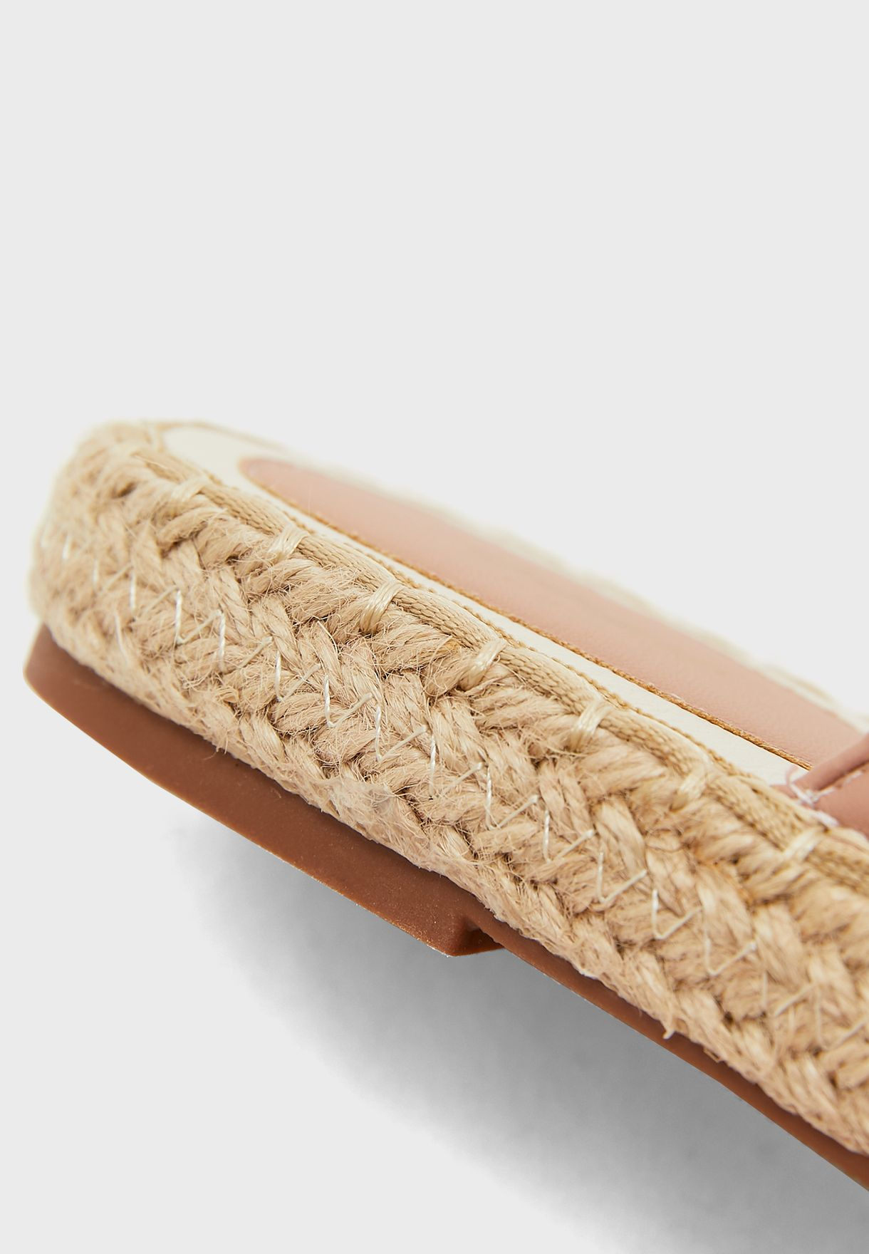 Quilted Round Toe Open Back Espadrille